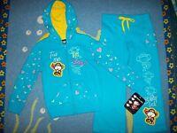 Bobby Jack Outfit Girls 2pc Hoodie Pants Monkey Sz 5 Medium Teal Silhouette