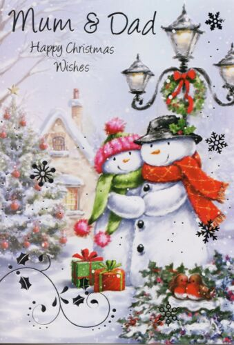 TRADITIONAL CUTE MUM AND DAD CHRISTMAS CARD VARIOUS DESIGNS 1STP/&P