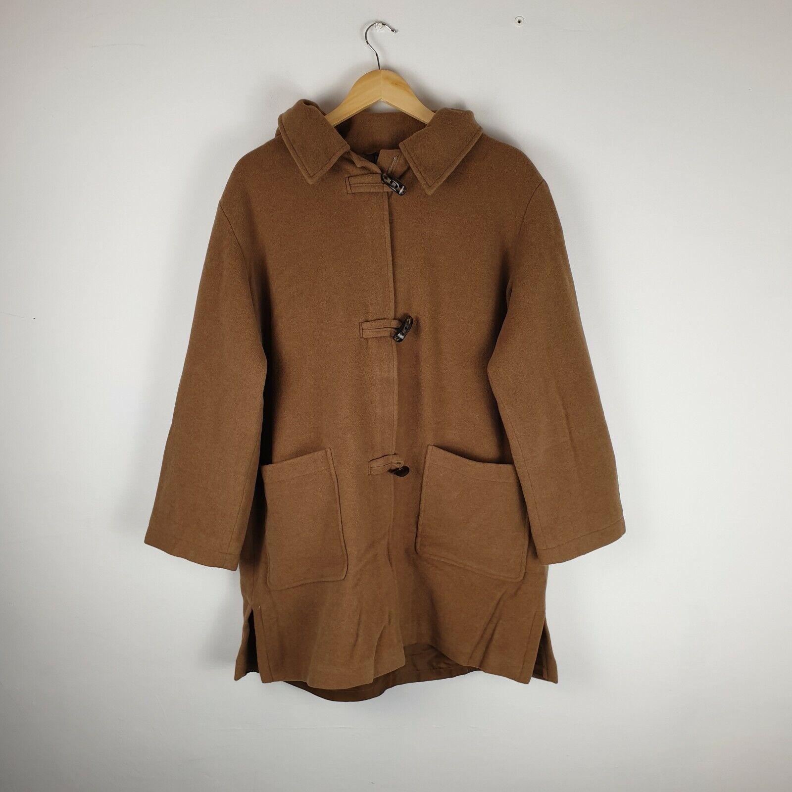 Women's Berghaus Fashion Brown Woollen Jacket Trench Coat Long Length Size 18