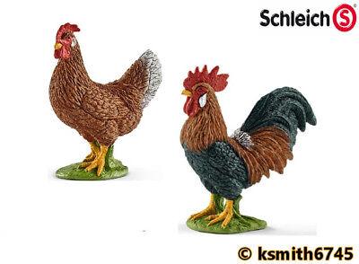 NEW * Schleich ROOSTER /& HEN plastic toy farm pet BIRD animal Chicken