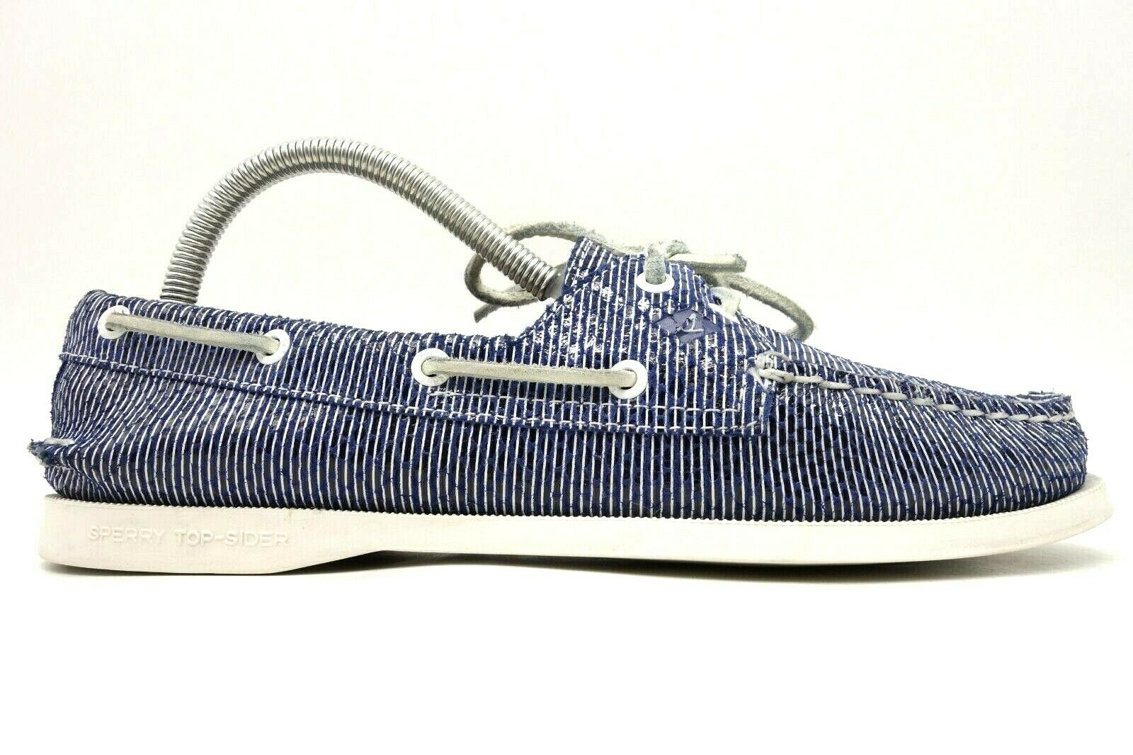 Sperry Top Sider Blue White Stripe Slip On Deck Boat Loafers Shoes Women's 8.5 M