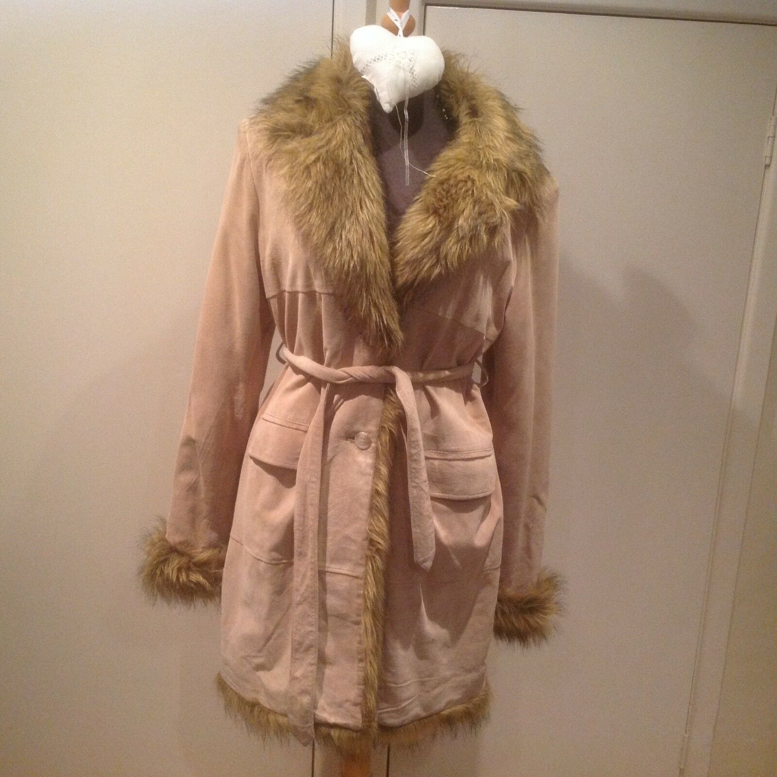 FUNKY FESTIVAL HIPPY 70s Boho Faux Fur Trimmed Beige Leather Suede Coat Size 12
