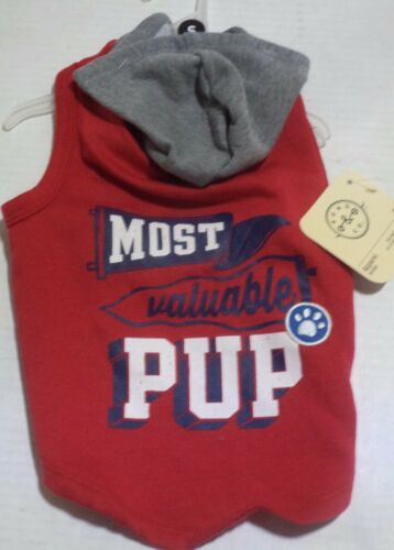 Size Extra Small Most Valuable Pup Red Dog Hoodie Bond /& Co Small