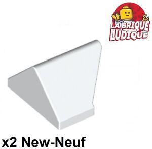 Lego 2x slope brique pente inclinée 45 2x1 double blanc//white 3049c NEUF