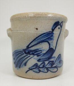 Rowe-Pottery-Works-AARFAC-Salt-Glazed-Folk-Art-Bird-3-034-CROCK