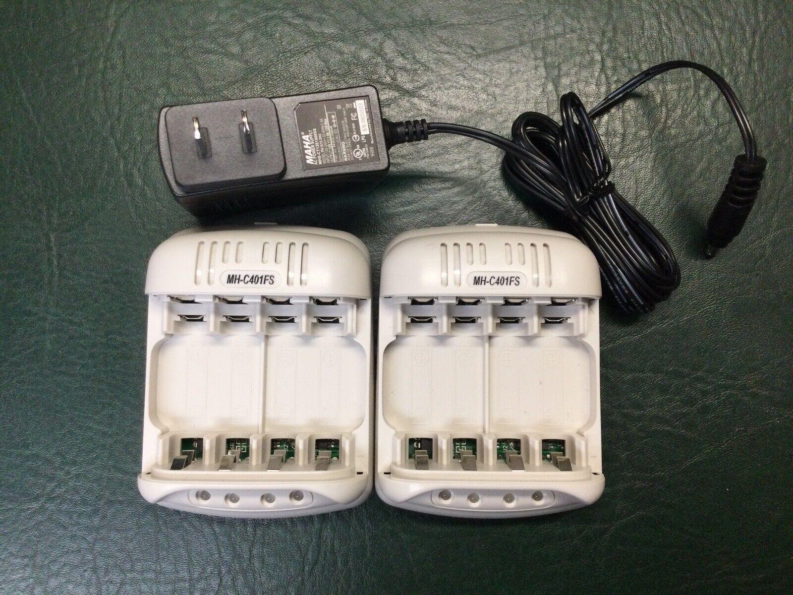(2) MAHA MH-C401FS Class 2 Battery Chargers w/ 1 Maha AC Power Supply