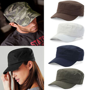 Mens-Womens-Classic-Adjustable-Army-Trucker-Plain-Hat-Cadet-Military-Cap-Hats