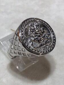 Silver sovereign coin ring