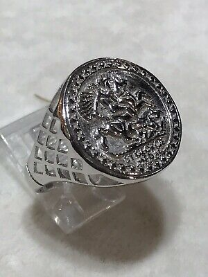 New Design Sterling Silver Half Sovereign Size St George Imitation Coin Ring