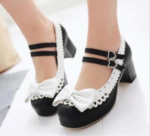 Plus SZSweet Lolita Womens Bowknot Ankle Strap Block Heels Mary Jane Pump Shoes