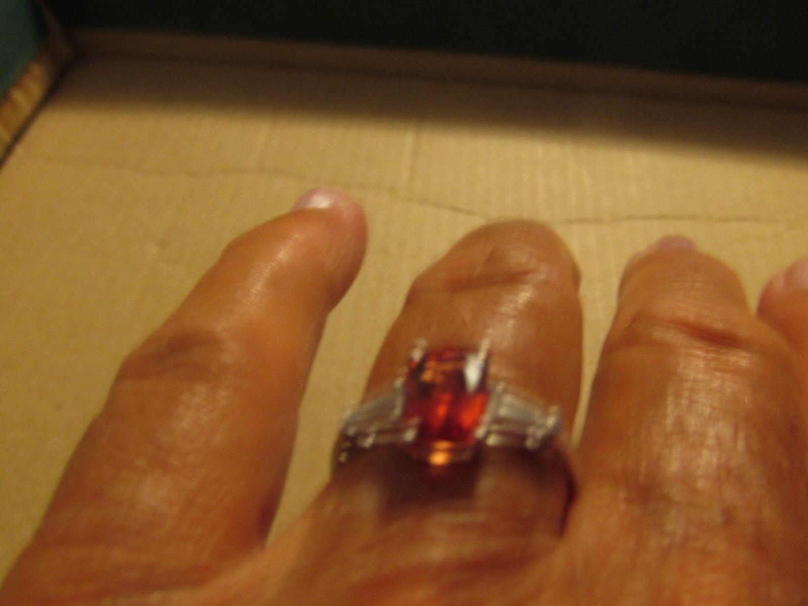 Geniune red andesine ring 8x6 ec white topaz baguettes sz8