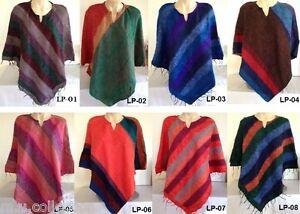 Nepalese-Warm-Handmade-Yak-Wool-Stripe-Poncho-Girls-Women-Winter-Care