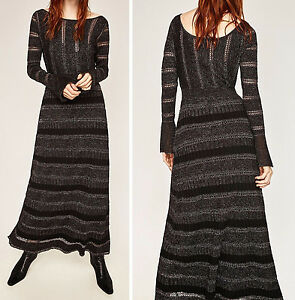 Maxi Kleid Silber Zara Long Dress Strickkleid M Size Maxikleid Shimmer Knitted tEqHHr