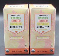 Trader Joe's Organic Ginger Turmeric Herbal Tea 2 Boxes Tumeric Caffeine Free