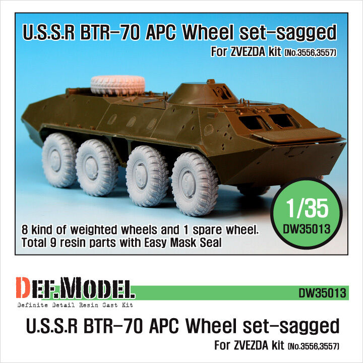 DEF. MODEL, BTR-70 APC Sagged Wheel set for Zvezda, DW35013, 1 35