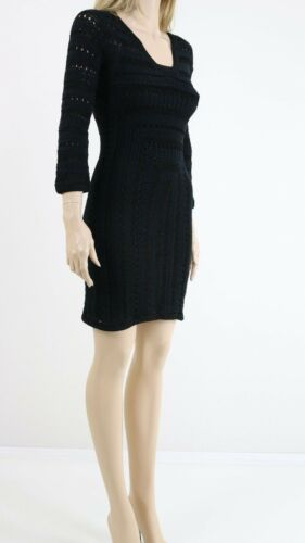 Crochet Black Kz104 10 6 Knitted Dress Jumper Karen Cocktail Uk Party Millen tTwSqHxE7