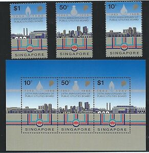 Stamps-1988-4-5-Singapore-25th-Anniversary-of-PUB-Stamps-set-of-3v-amp-M-S-MNH