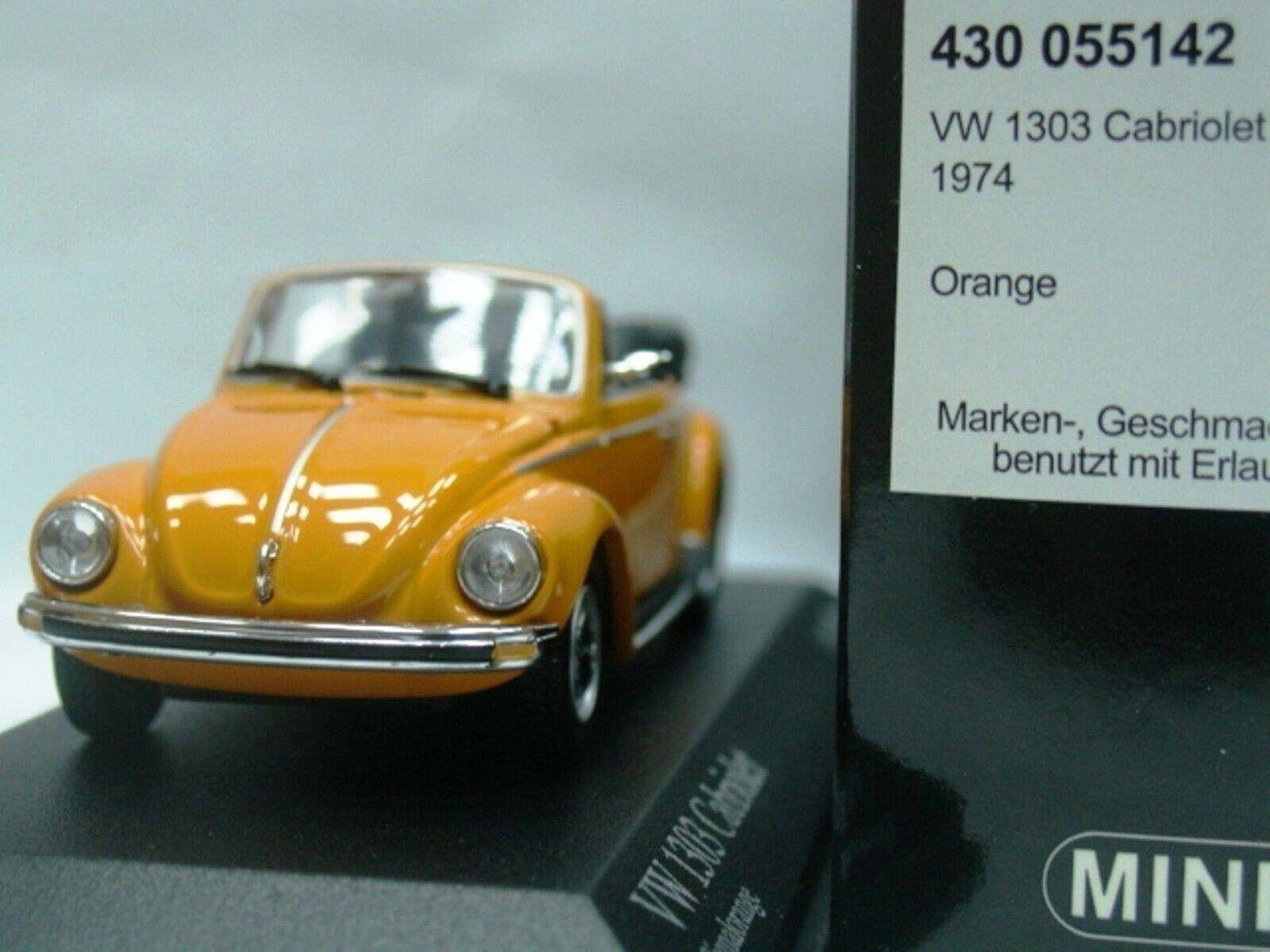 WOW EXTREMELY RARE VW Beetle Käfer 1303 Cabriolet 1974 orange 1 43 Minichamps