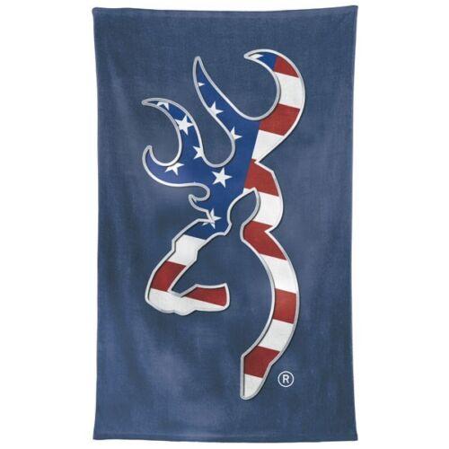 Browning Buckmark Beach Towel American Flag Navy Patriotic Plush