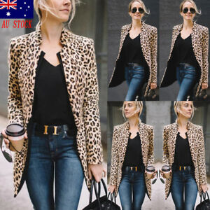 Lady-Casual-Slim-Solid-Suit-Blazer-Jacket-Coat-Outwear-Womens-Leopard-Fashion-AU