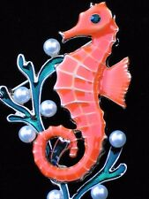 ORANGE GREEN PEARL OCEAN LIFE SEAWEED SEA HORSE SEAHORSE PIN BROOCH JEWELRY 2""