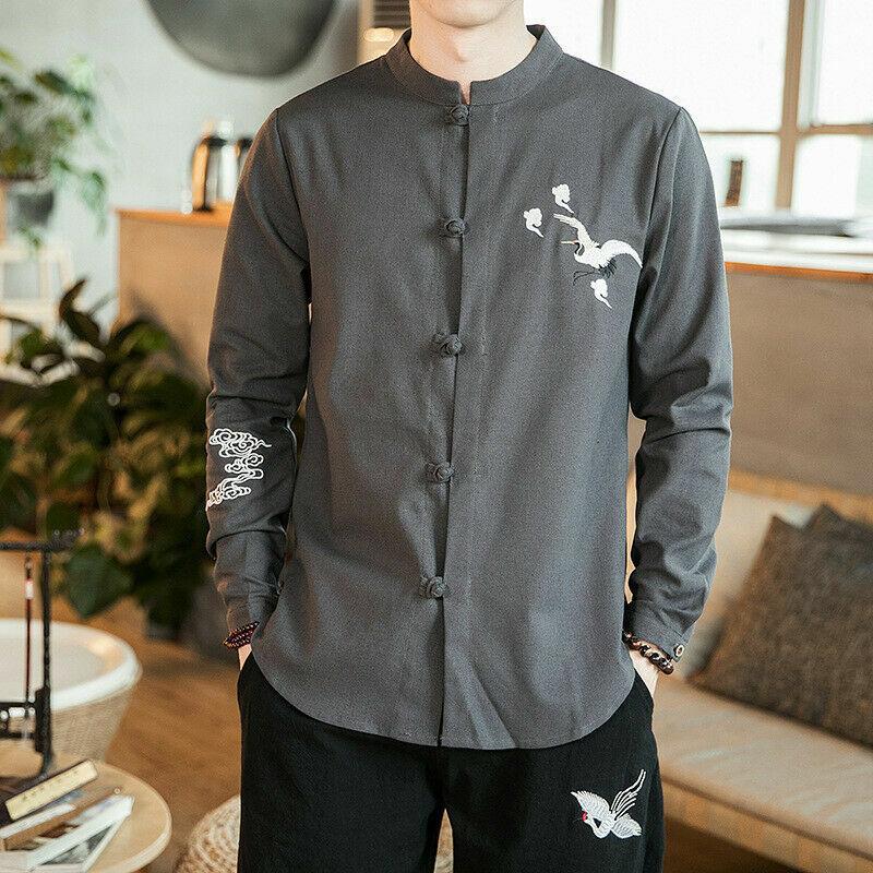Herren Ethnisch Baumwollhemd Leinen Einfarbig Chinesisch Kung Fu Top Frog Knopf