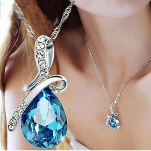 Women-039-s-Fashion-Silver-Chain-Crystal-Rhinestone-Pendant-Necklace-Jewelry-Gift