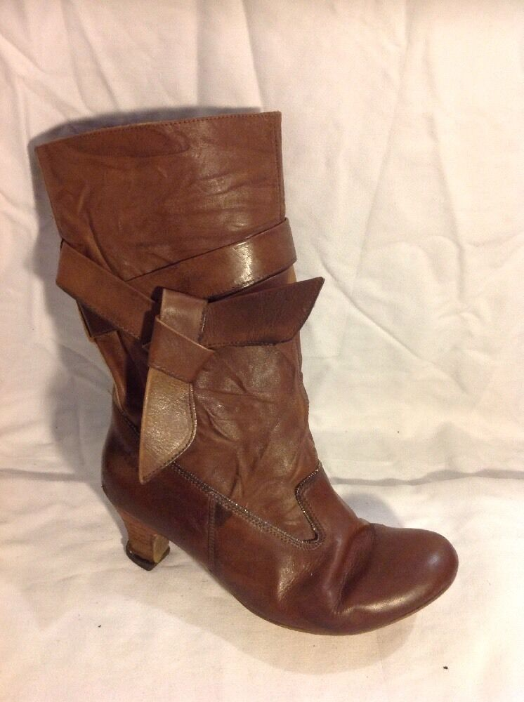 Fat Face Brown Mid Calf Leather Boots Size 39