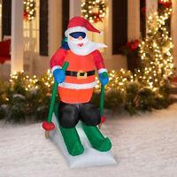 Animated Skiing Santa Airblown Inflatable 6ft. Tall In Box Yard Decor