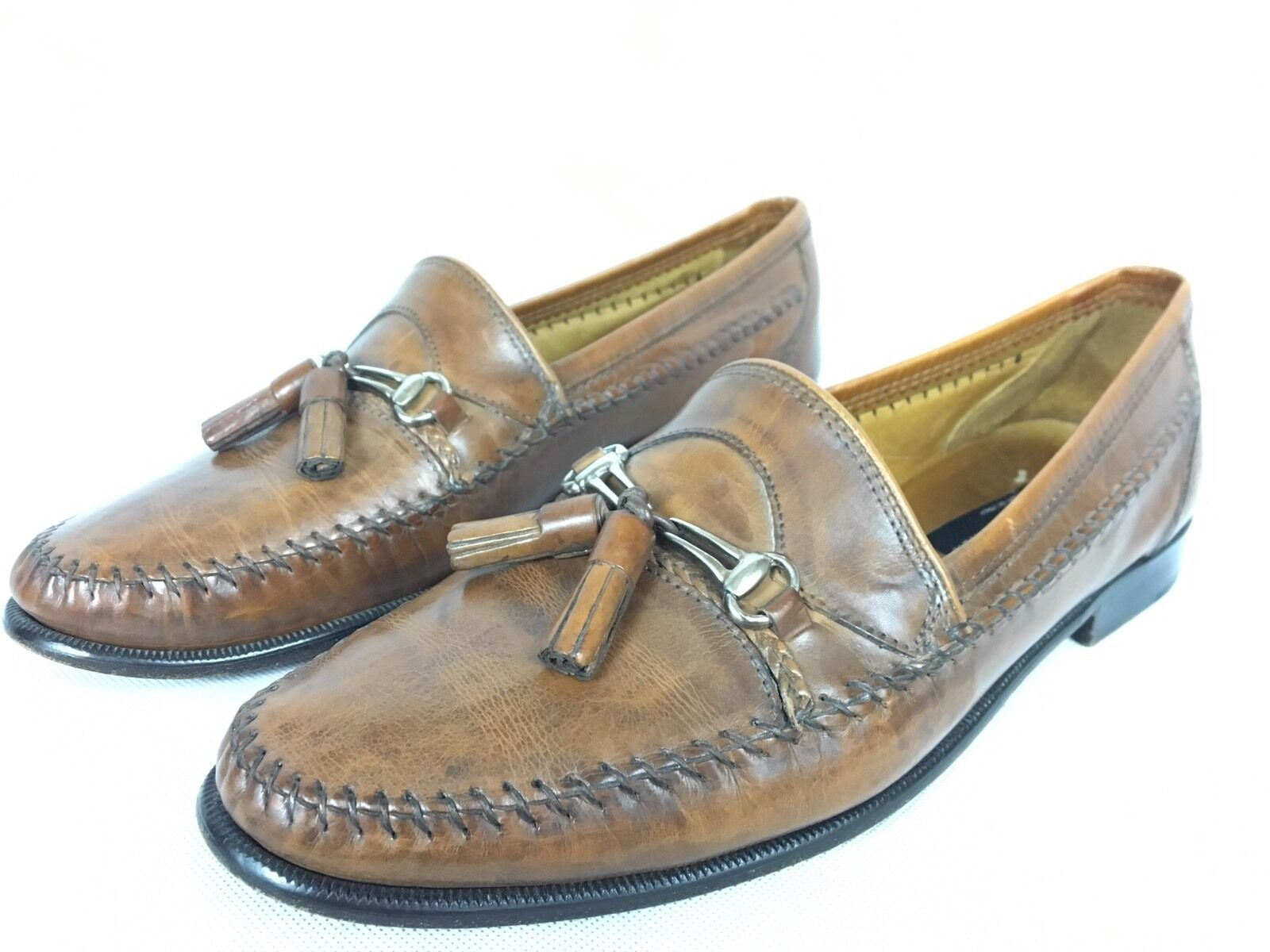 Stamati Mastroianni Brown Pelle Loafers Handmade In Italy 10 Shoes W/tassels