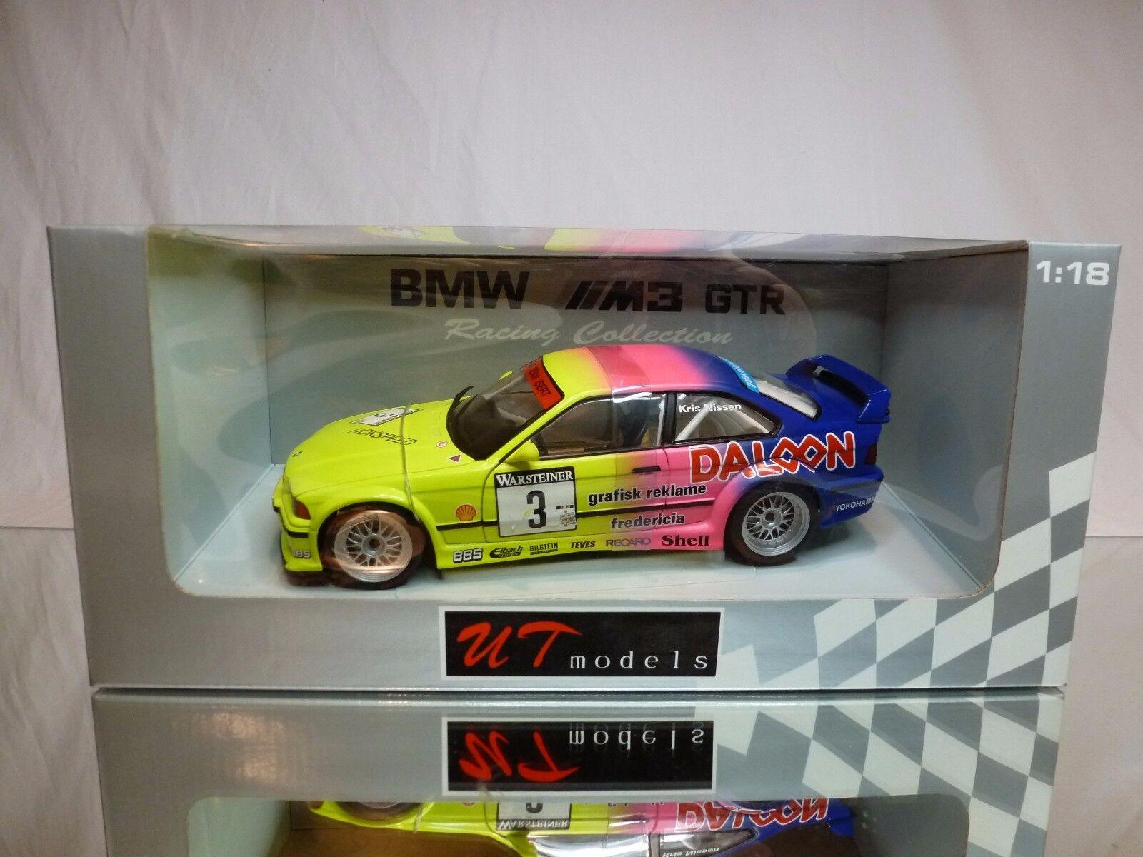UT MODELS 39371 BMW M3 E36 GTR 1993 DALOON 1 18 - BOXED + TRANSPORT STRAPS CAR