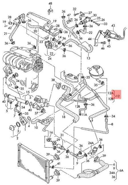 Genuine Volkswagen Coolant Hose Heater Nos Vw Eurovan Transporter