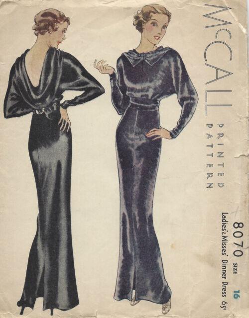 1934 Vintage Sewing Pattern B34 Evening Dinner Dress (1296) | eBay
