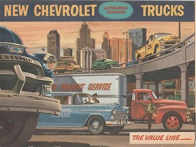 Original 1955 Chevrolet Truck Sales Brochure Sedan Delivery Panels Pick-Ups  | eBay