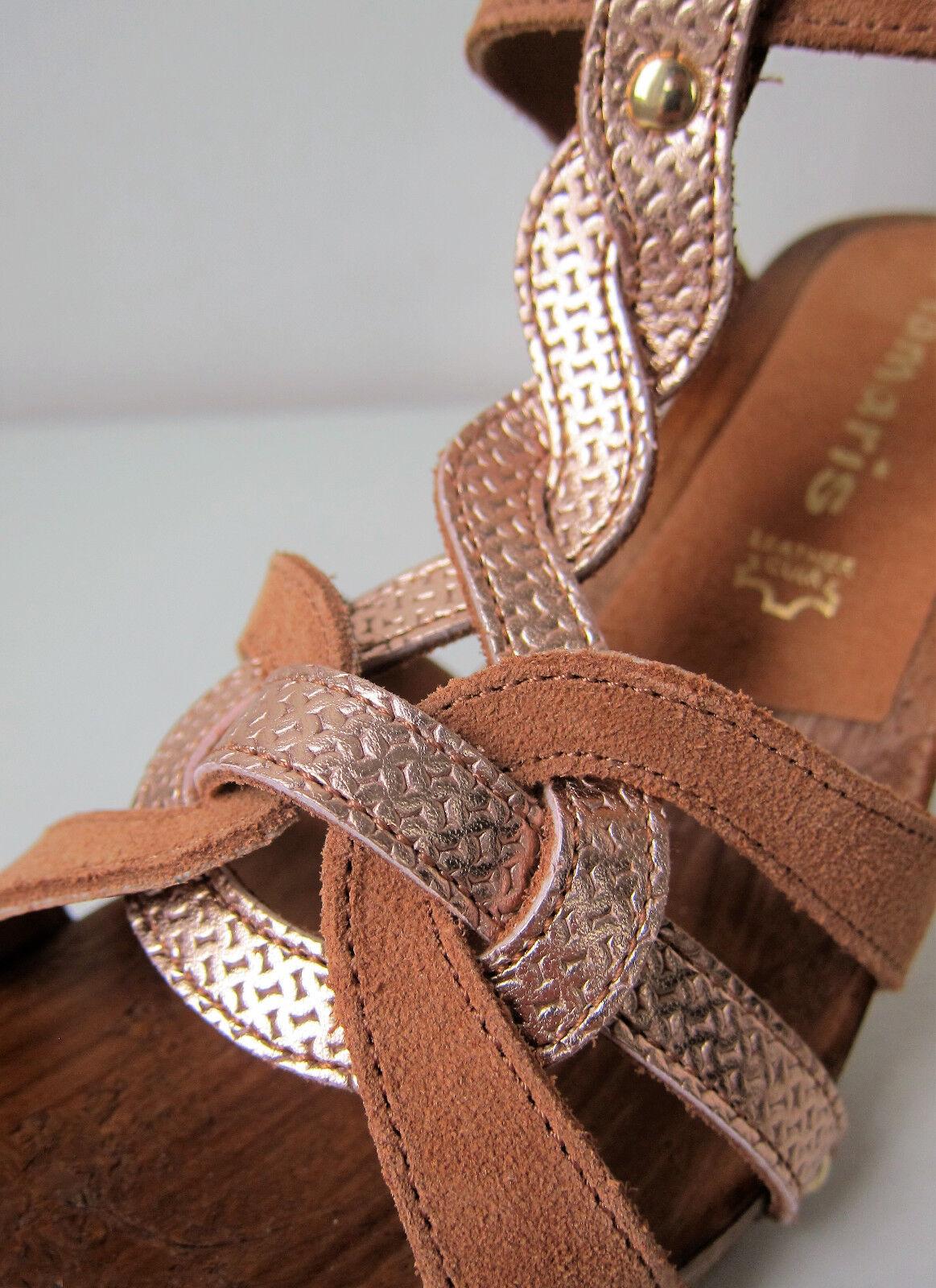 Tamaris Sandale Sandalette braun cuoio Gr. 36 cuoio braun rose gold rosegold Glitzer Plateau babbcc