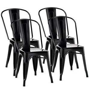 Fantastic Details About Set Of 4 Tolix Style Metal Dining Chair Stackable Bistro Chair Kitchen Furniture Machost Co Dining Chair Design Ideas Machostcouk