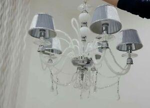 Lampadario Shabby Chic Bianco 5 Luci Con Paralumi In Pvc Camera Da Letto Ebay