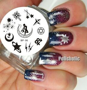 Nail Art Stamping Plate Angel Star Moon Image Stamp Template Born