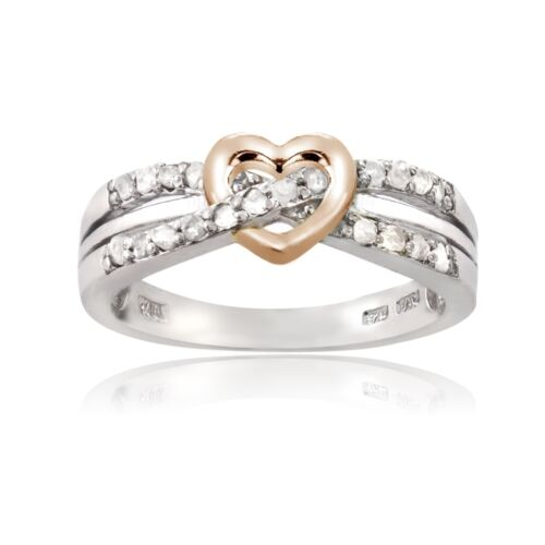 Sterling Silver 1//5ct TDW Diamond Heart Promise Ring