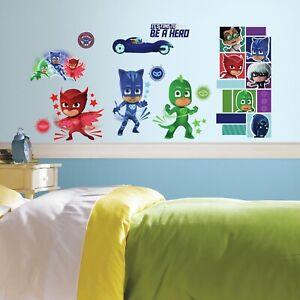 New-PJ-MASKS-Superheroes-13-Wall-Decals-Catboy-Owlette-Gekko-Room-Decor-Stickers