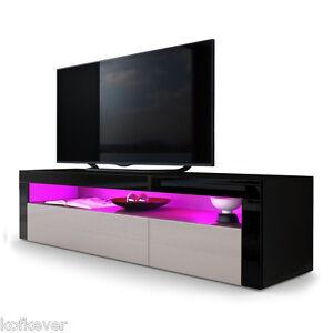 Dettagli su Porta TV nero con led Giglio, mobile per soggiorno  moderno,frontali in 13 colori