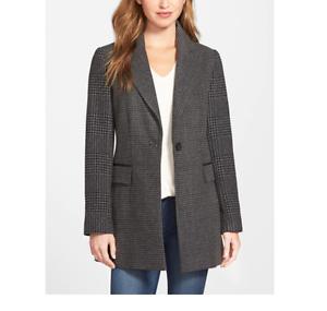 Laundry by Shelli Segal 2493 Women's Grey Contrast Sleeve Long Tweed Coat Sz S