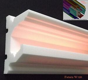 Stuckleisten-Stuckprofil-LED-Profil-6-Meter-Zierprofil-034-Futura-W120-034