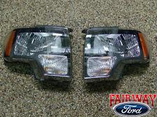 2009 thru 2014 Ford F-150 SVT Raptor Black Headlamp Headlight Set (pair)