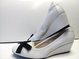 Scarpe-donna-37-Decolte-Bianco-Bruno-Magli-Zeppa-Woman-Shoes-MADE-ITALY-Schuhe