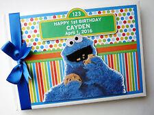 Personalizado Sésamo Cookie Monster primero/1ST cumpleaños del libro de visitas
