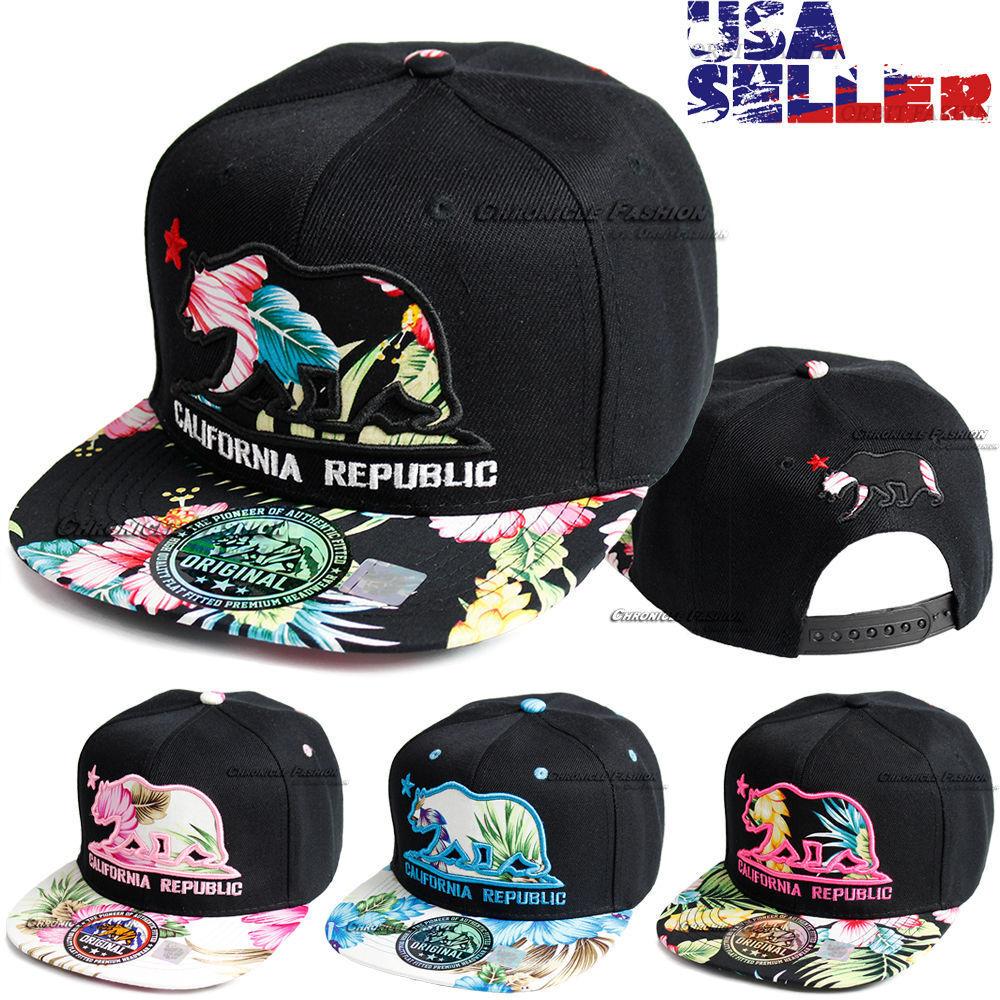 California Republic Baseball Cap Bear Embroidered Snapback