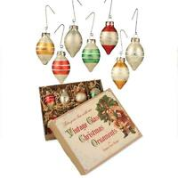Bethany Lowe 8 Vintage Style Glass Teardrop Christmas Ornaments Box Set