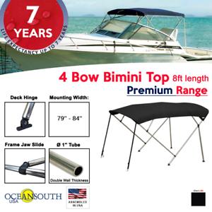 "84/"" Width 3 Bow Bimini Top PREMIUM RANGE 79/"" 6ft Long Black with Rear Poles"