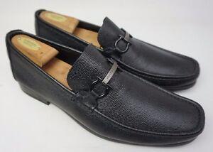 Size 10.5 Salvatore Ferragamo Black Pebbled Leather Slip On Casual Loafer